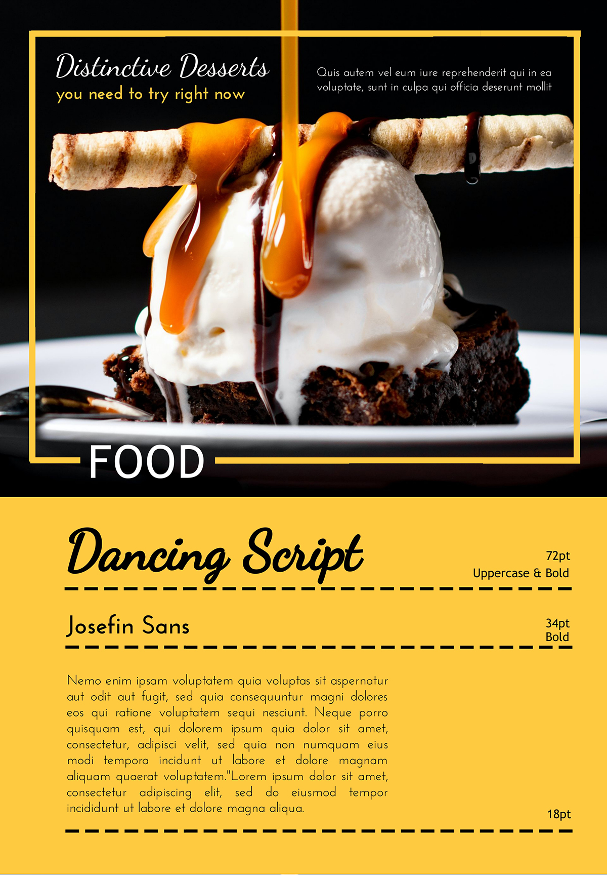 An example using the font pair Dancing Script and Josefin Sans.
