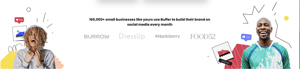 A screenshot from Buffer's website showing their geometric branding.