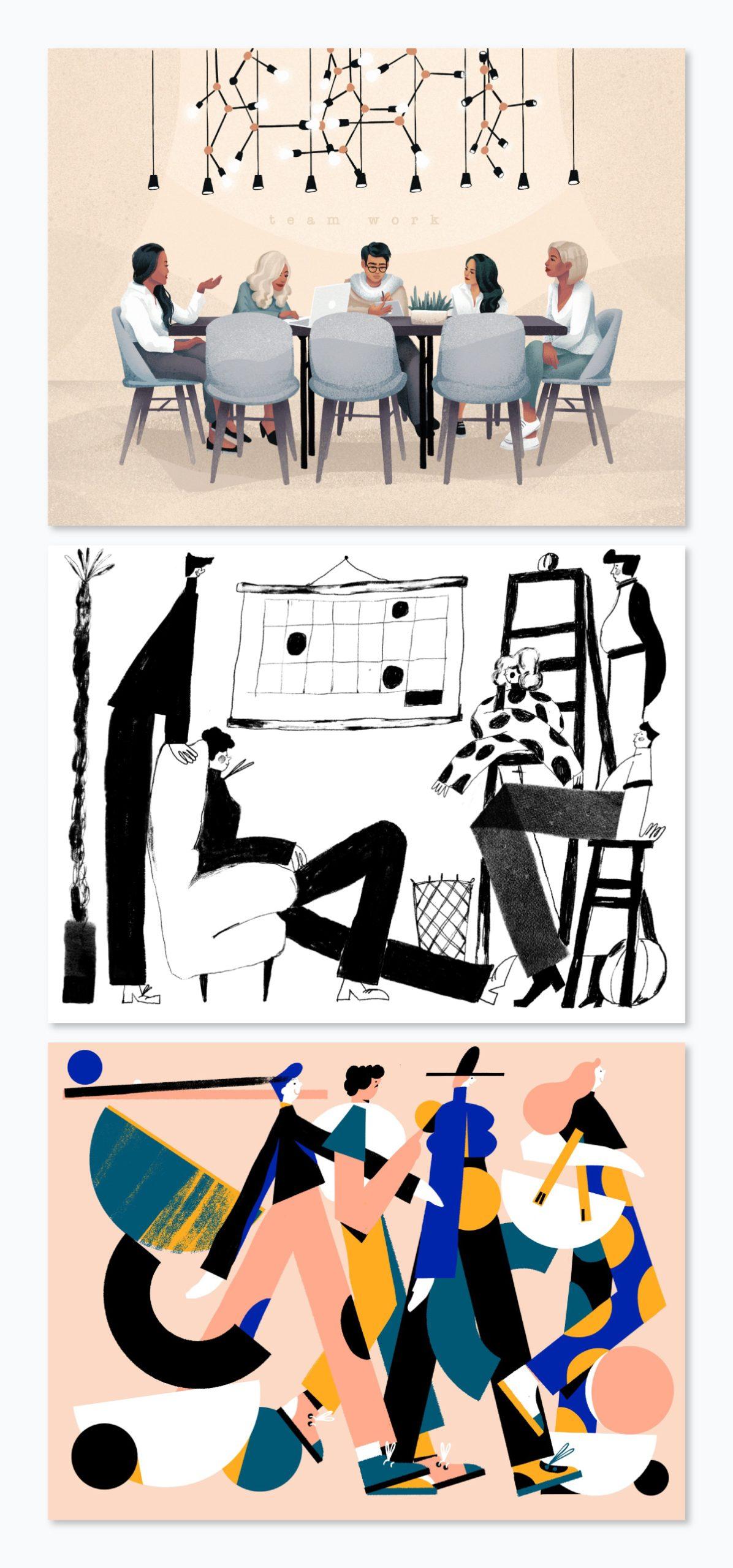 Three illustrations of people.