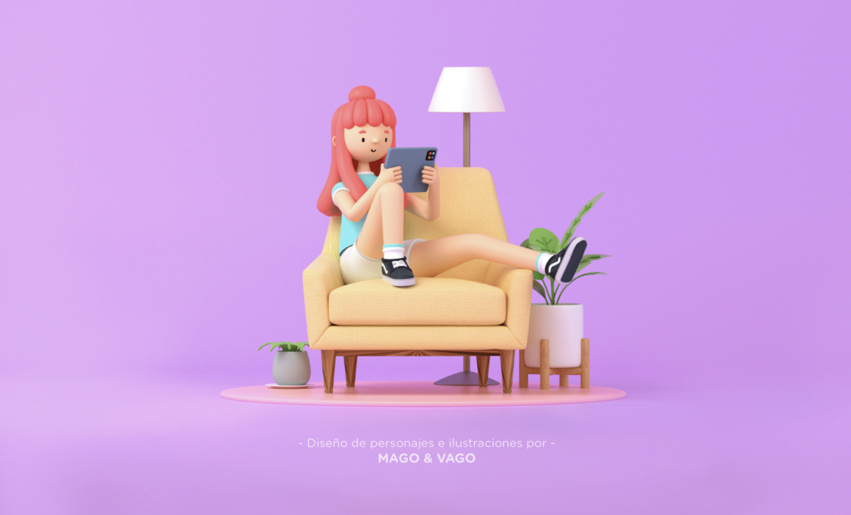 A 3D illustration of a girl sitting on a chair.
