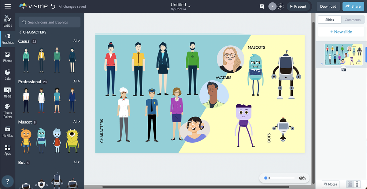 An example of the illustrated people available in Visme.