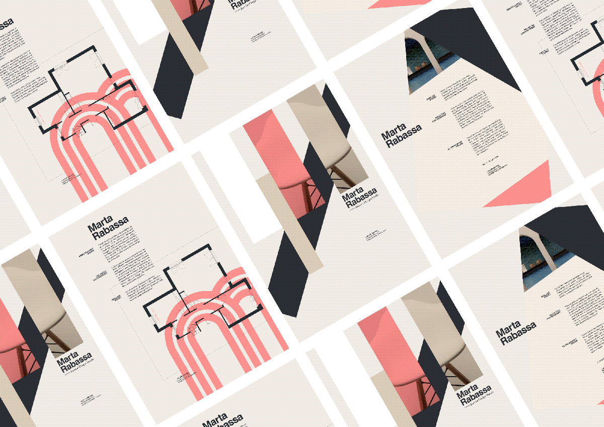 An interior designer's brand identity using muted colors.