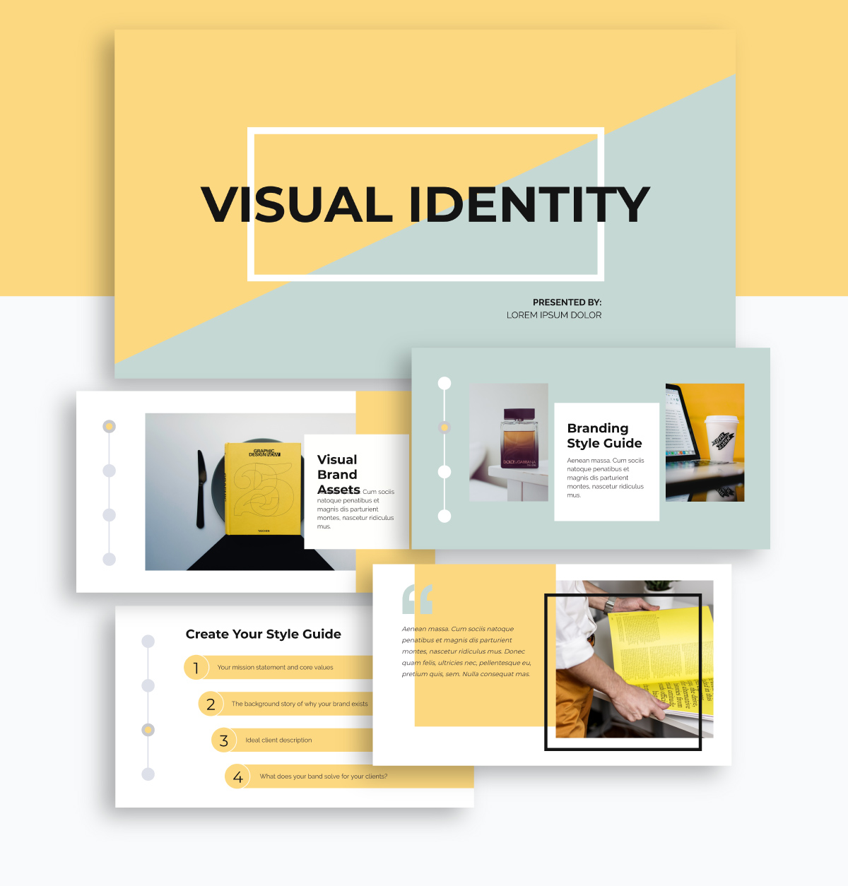 A presentation template with muted colors available in Visme.