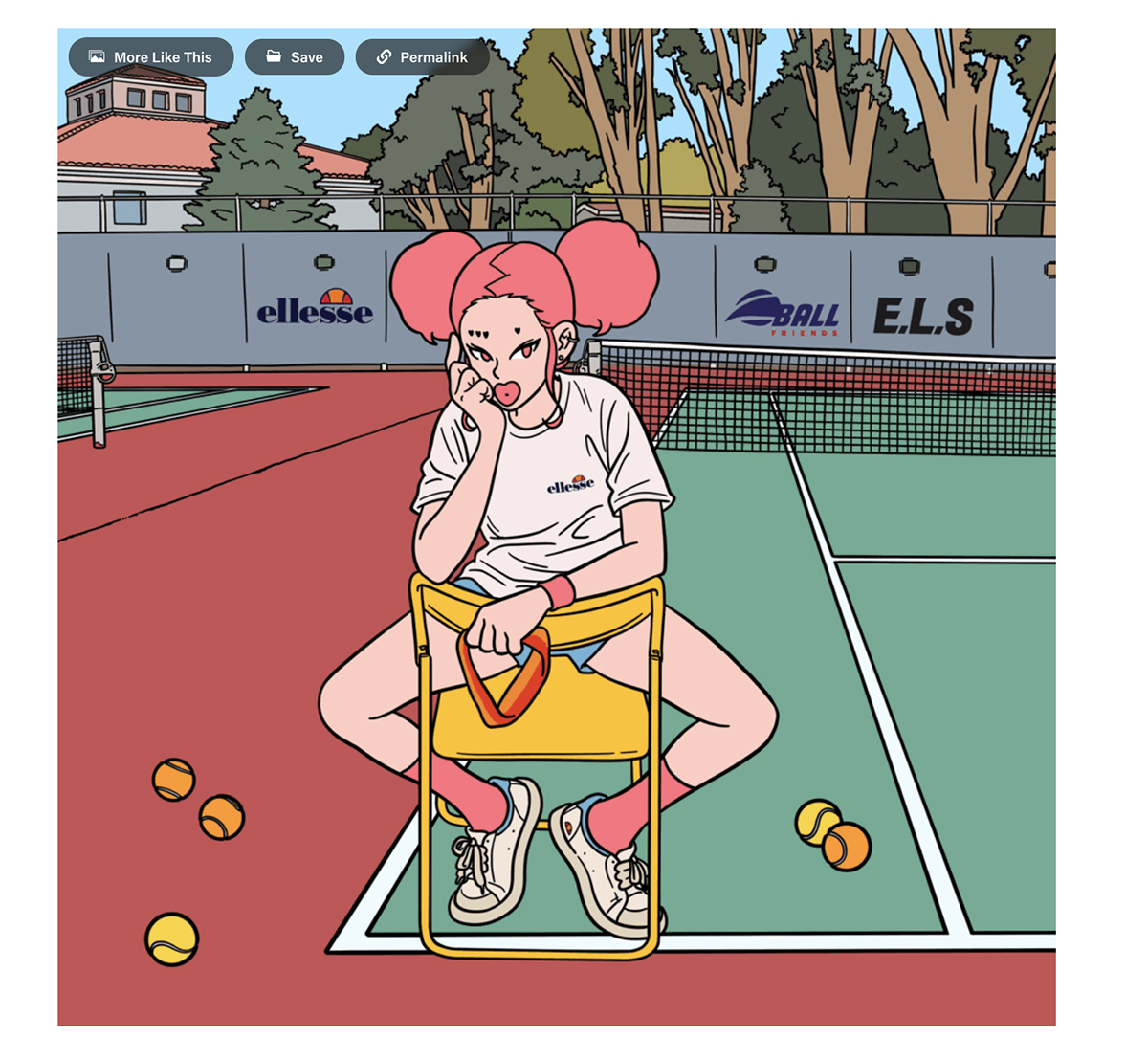 An illustration of a woman sitting in a chair on a tennis court.