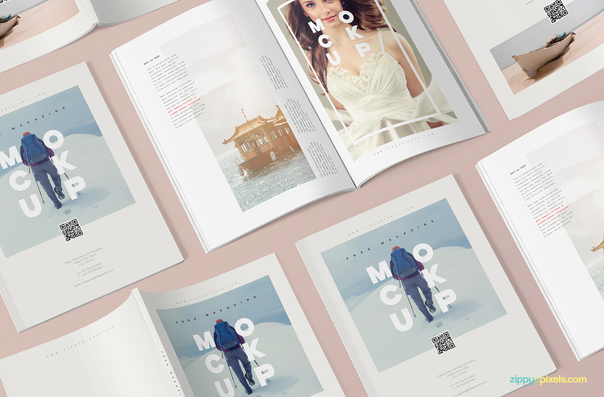 An example of a print mockup of a magazine.