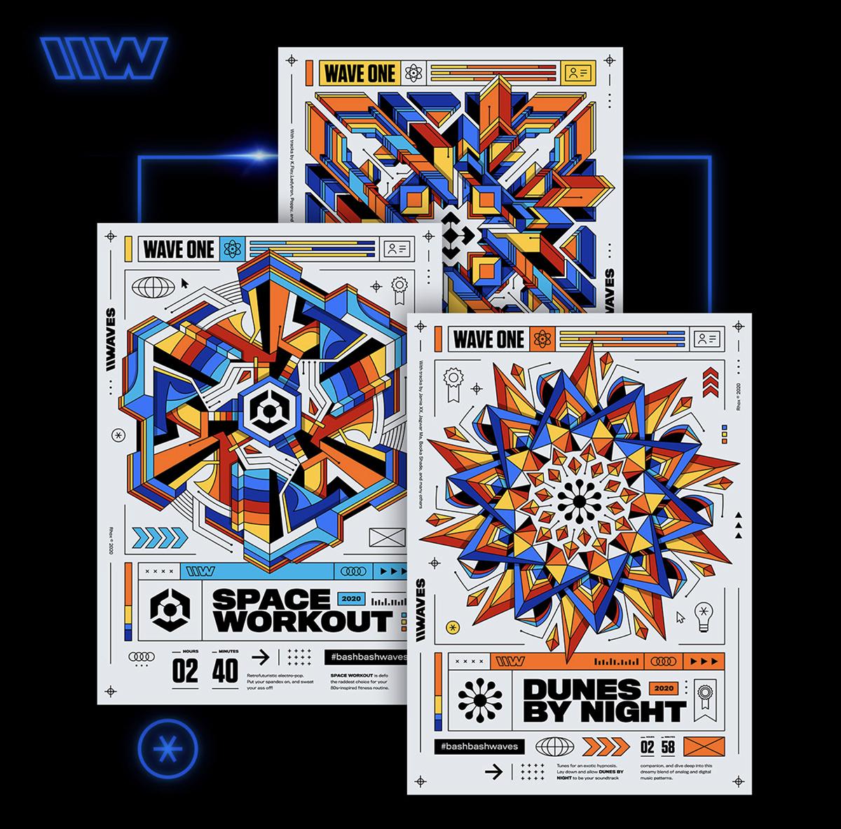 Retro-looking poster designs.