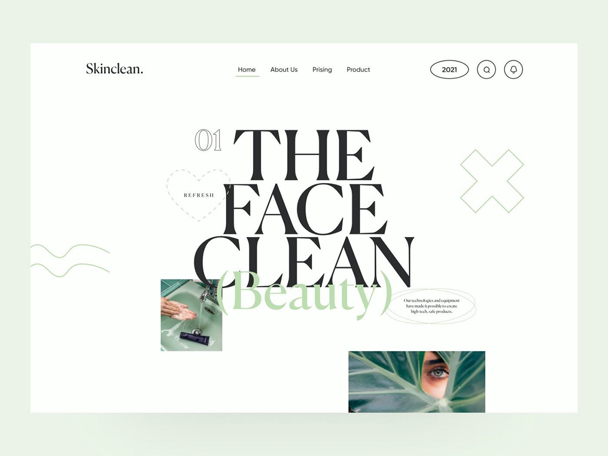 A website home page sporting serif text.