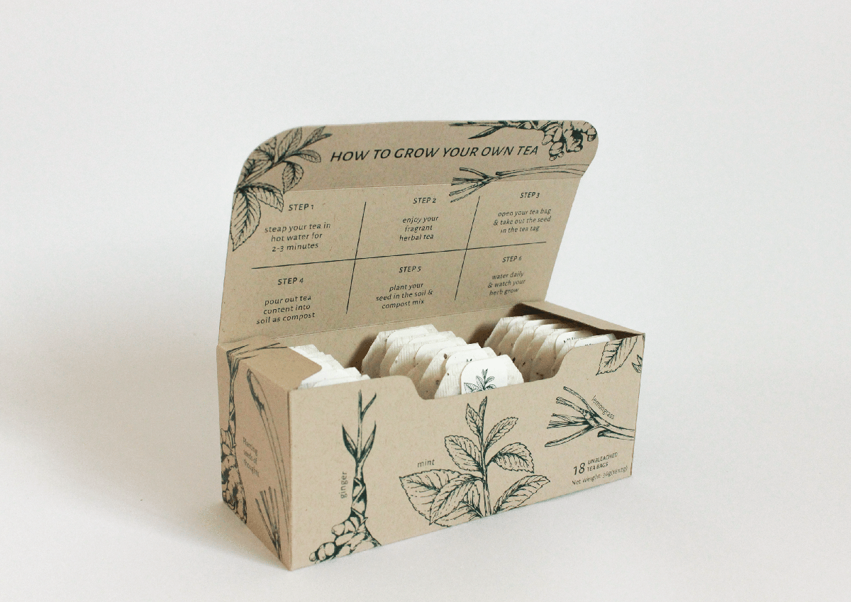 A photo of tea bags with nature design.