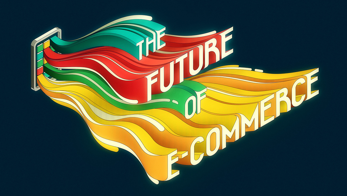 """A wavy 3D text effect saying """"The Future of E-Commerce."""""""