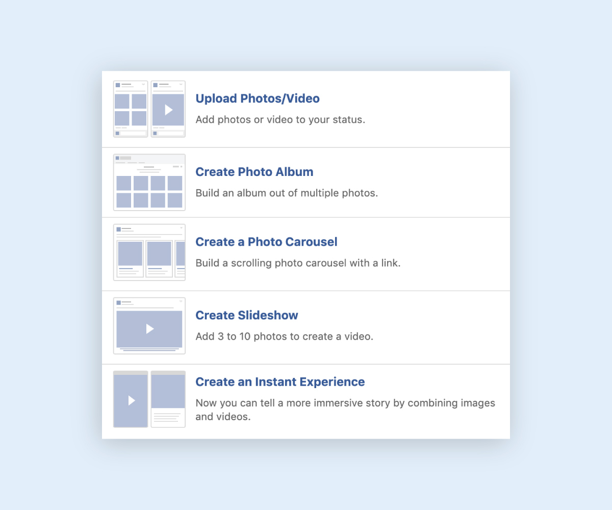 social media infographic - multiple photo video options facebook