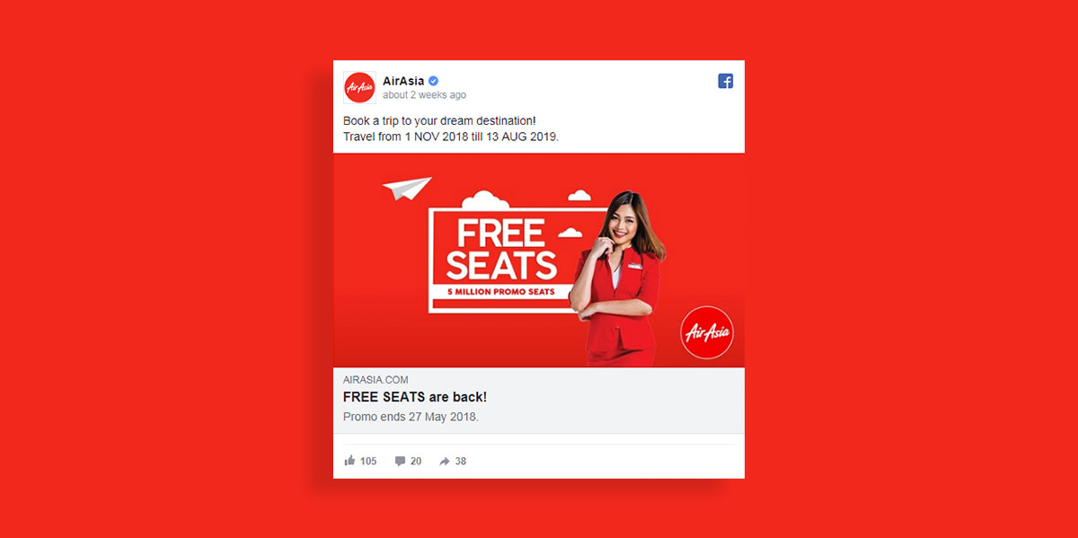how to create a facebook ad visual images color scheme contrasting colors airasia facebook ad