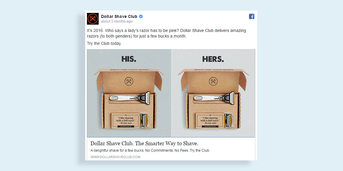 how to create a facebook ad visual images visual storytelling dollar shave club facebook ad