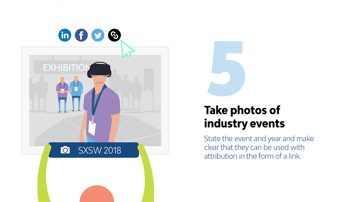 5 Unique Ways to Build Links with Images take photos of industry events
