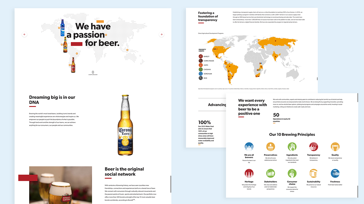 annual report design examples abinbev 2018
