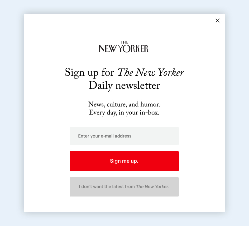 visual guide to exit intent popups the new yorker example
