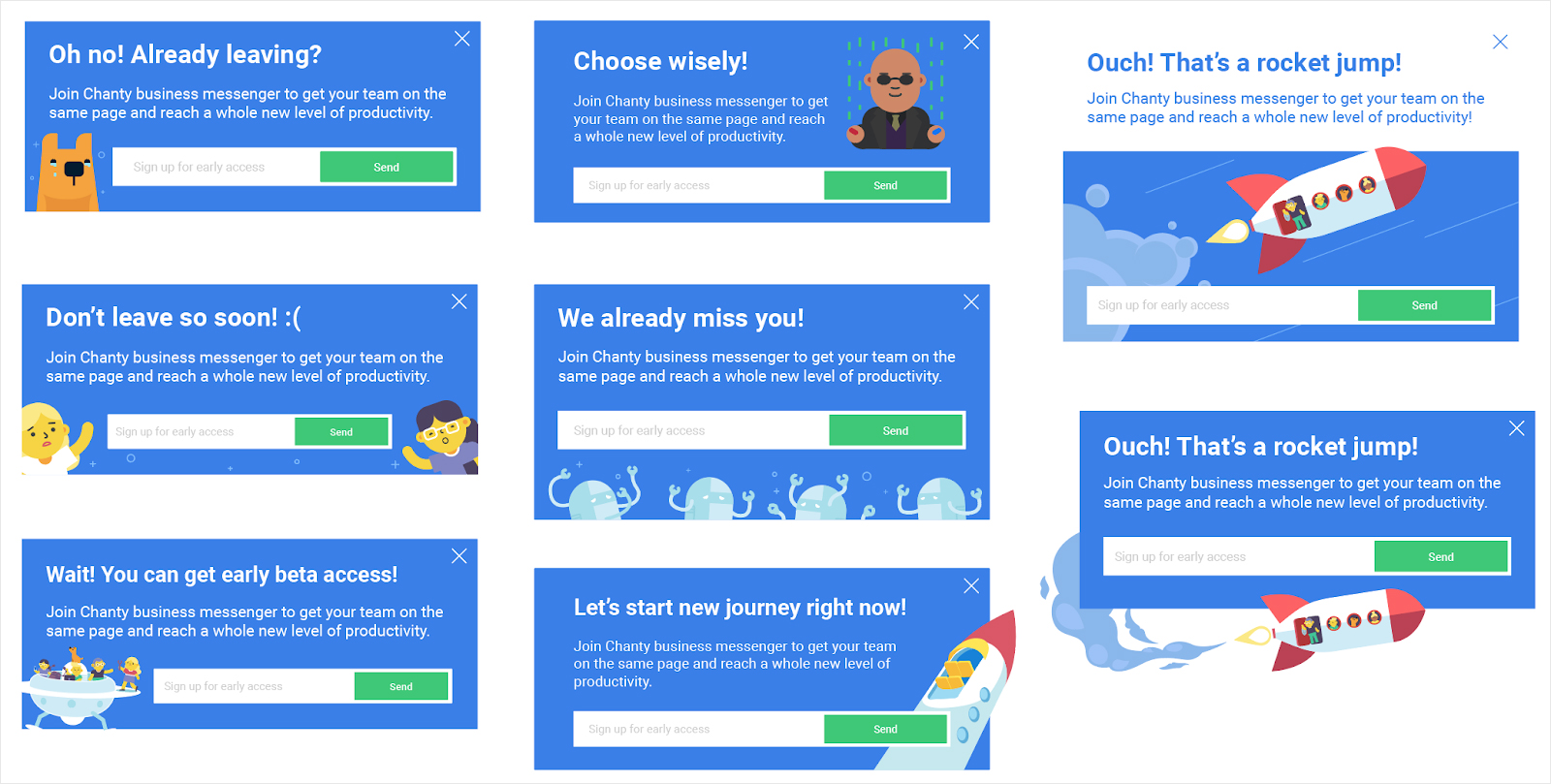 visual guide to exit intent popups chanty examples