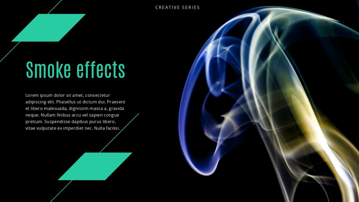 Colorful digital smoke swirls presentation background template visme