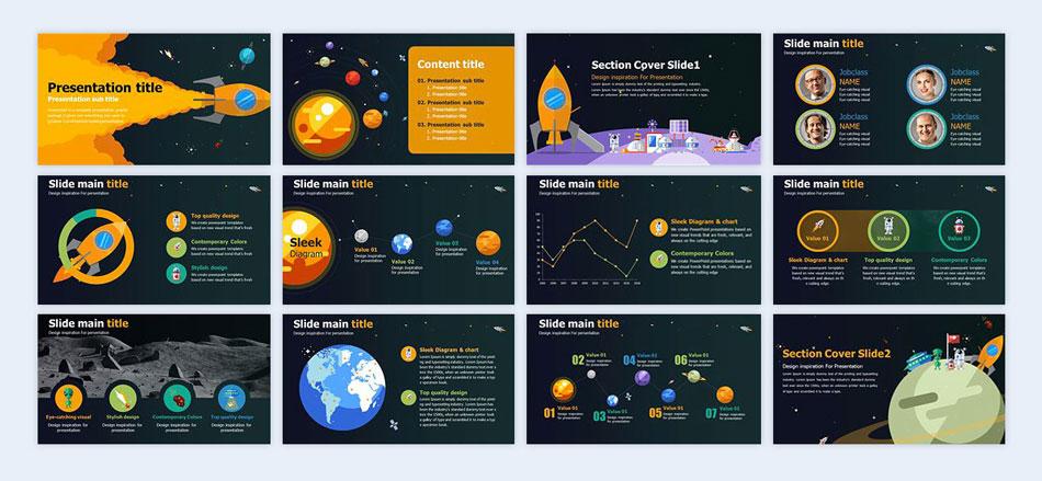 Do-a-space-theme-with-illustration creative presentation ideas