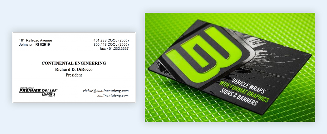 example how to use spot uv effect business cards