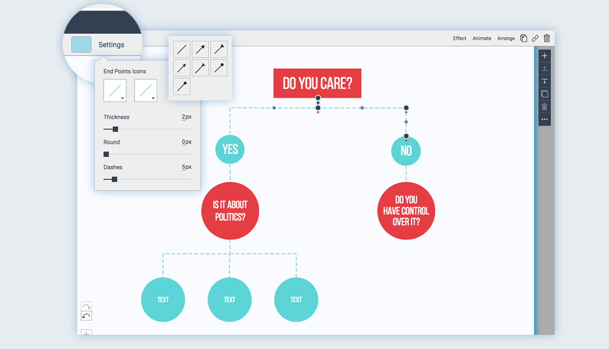 How to Make a Flowchart with Visme choose a line style