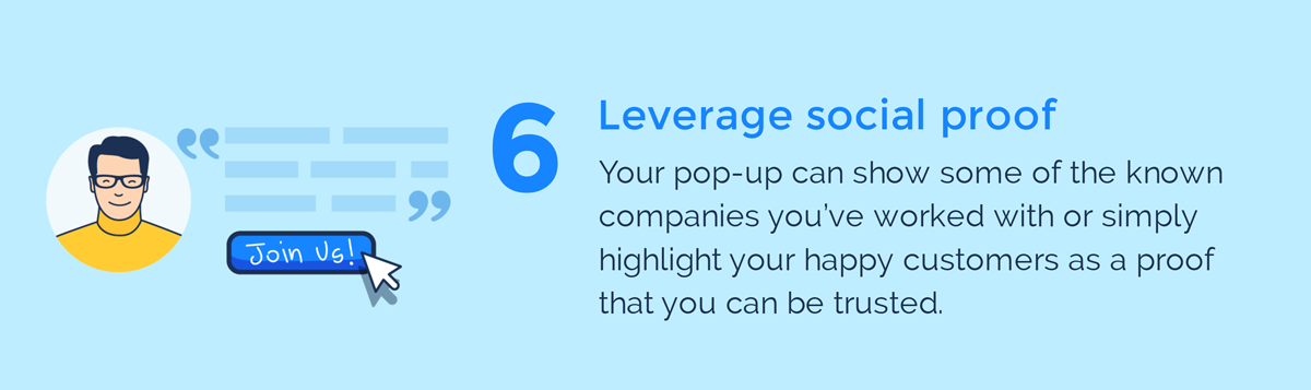 visual guide to exit intent popups leverage social proof