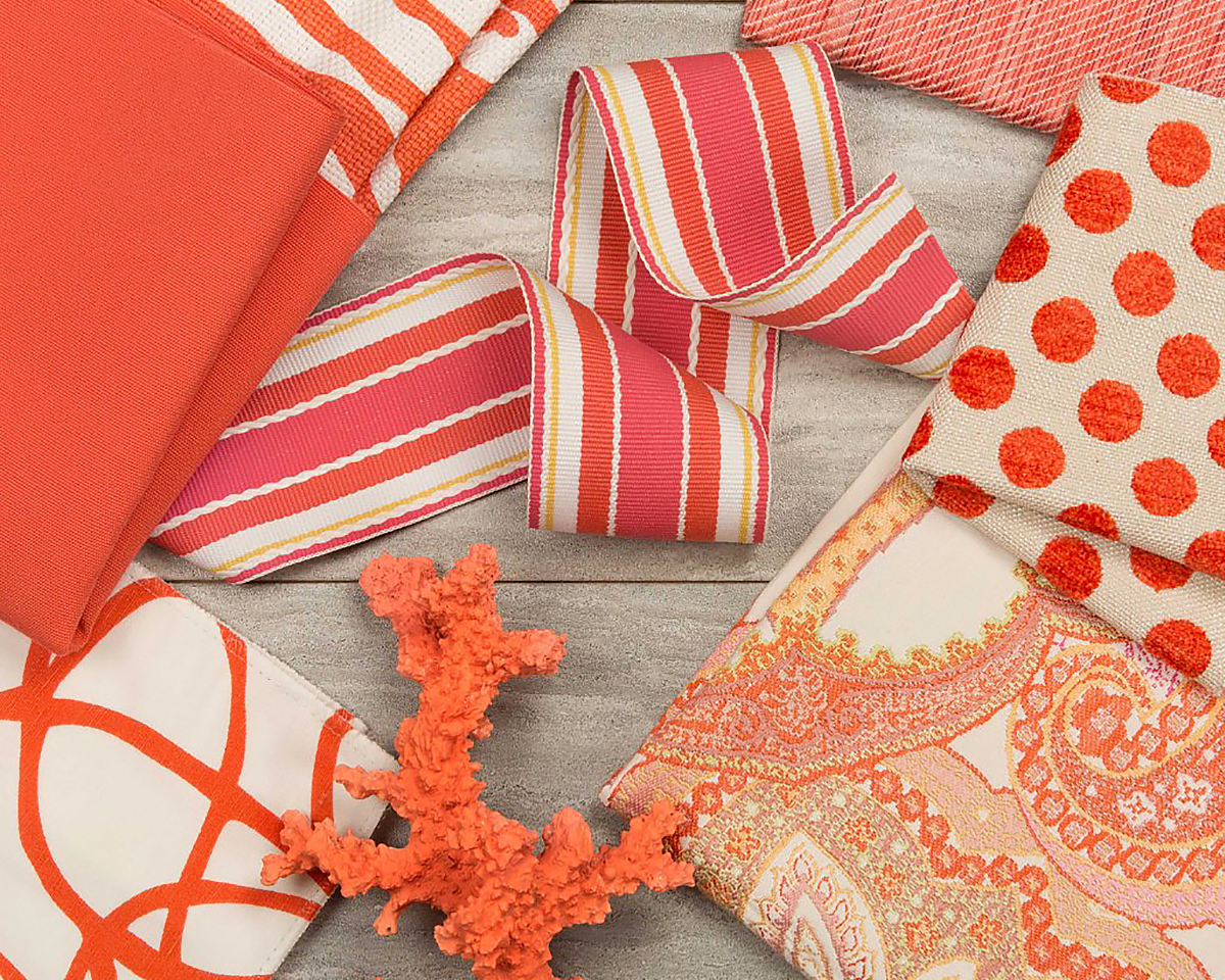Kravet-Interior-Decor-items pantone color of the year 2019 living coral