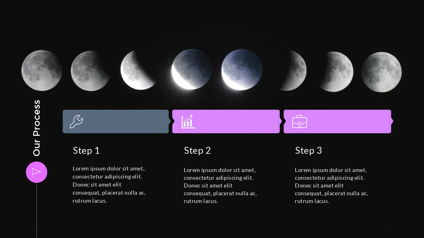 Moon phases with a black background presentation background template visme