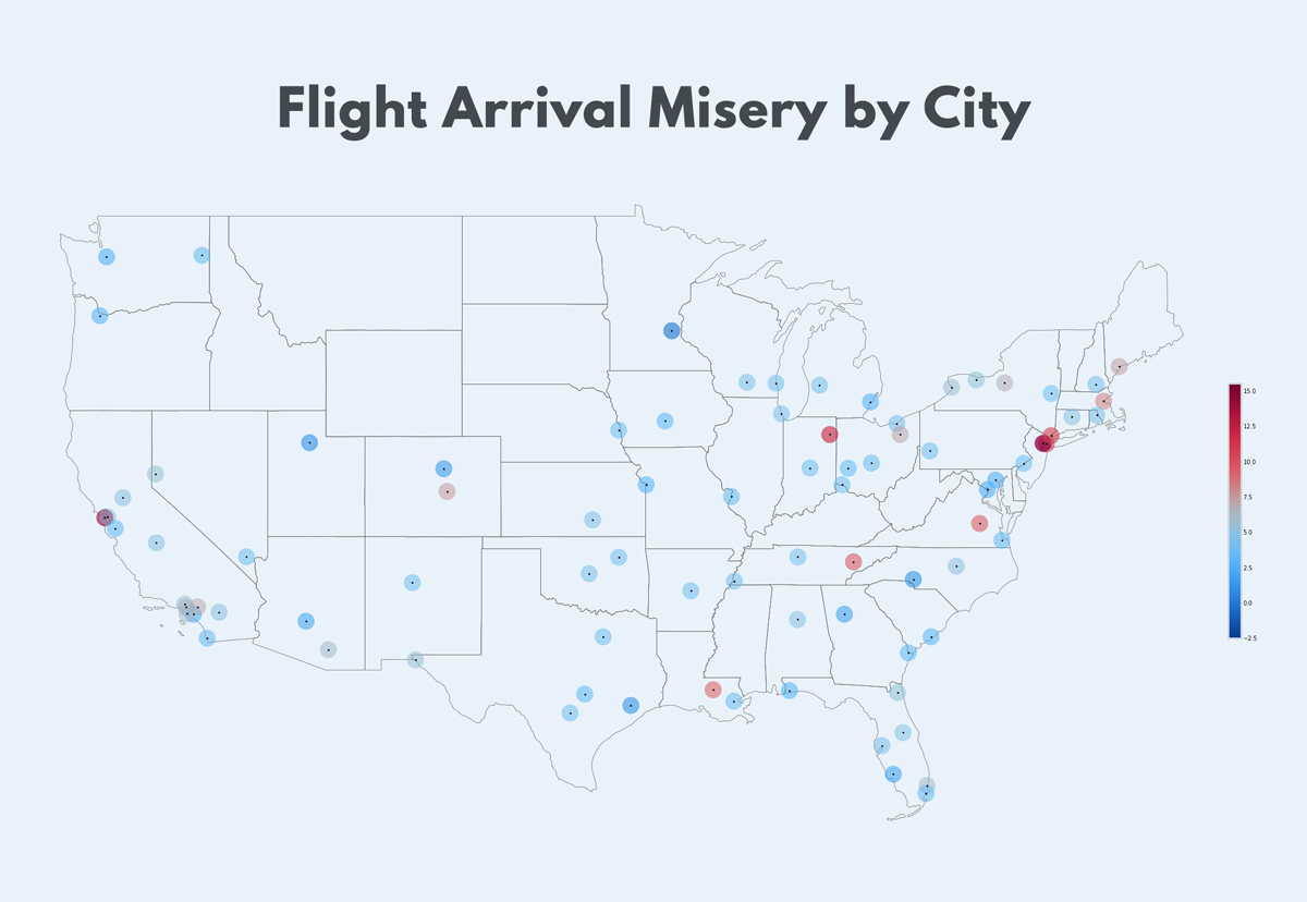 Severity-of-Flight-Arrival-Misery-by-City flight delay map