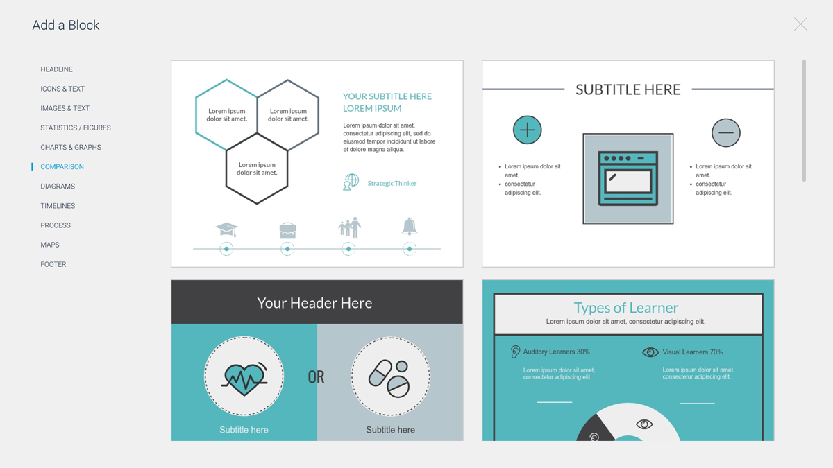 tools to create infographics - content blocks Visme