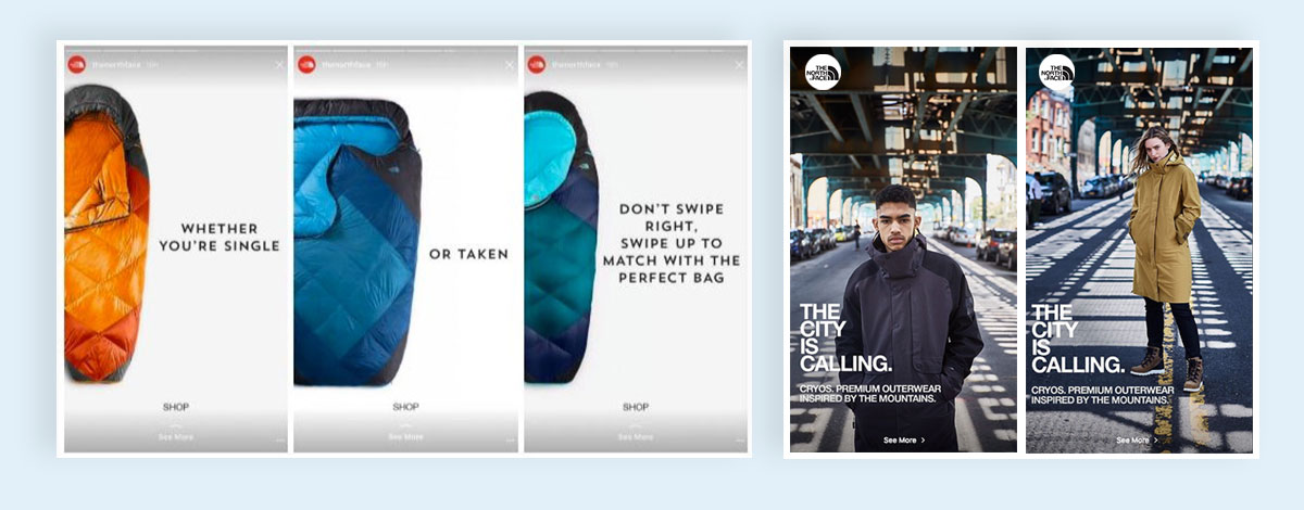 Use-Instagram-Stories-The-north-face b2b sales instagram marketing