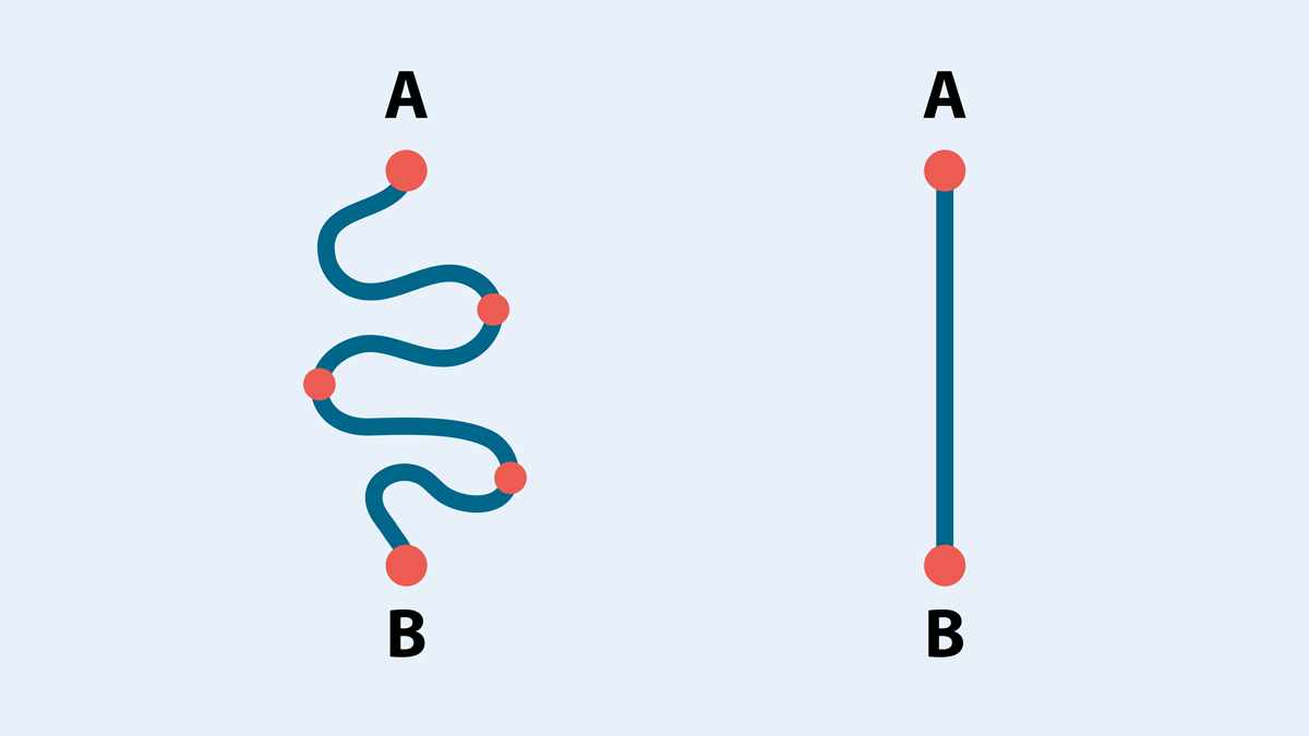 shortest distance between two points is a straight line visme coming out of beta