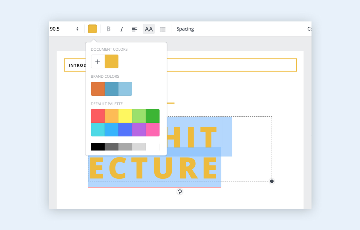 Canva's brand colors feature