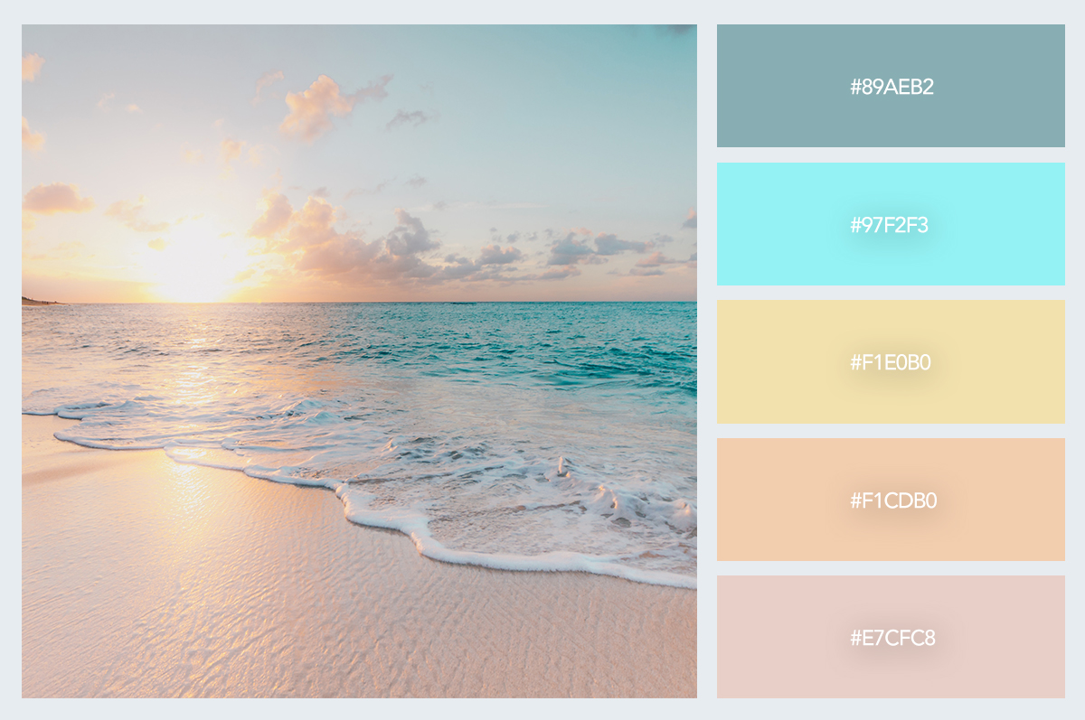 beach color palette hex codes pastel colors