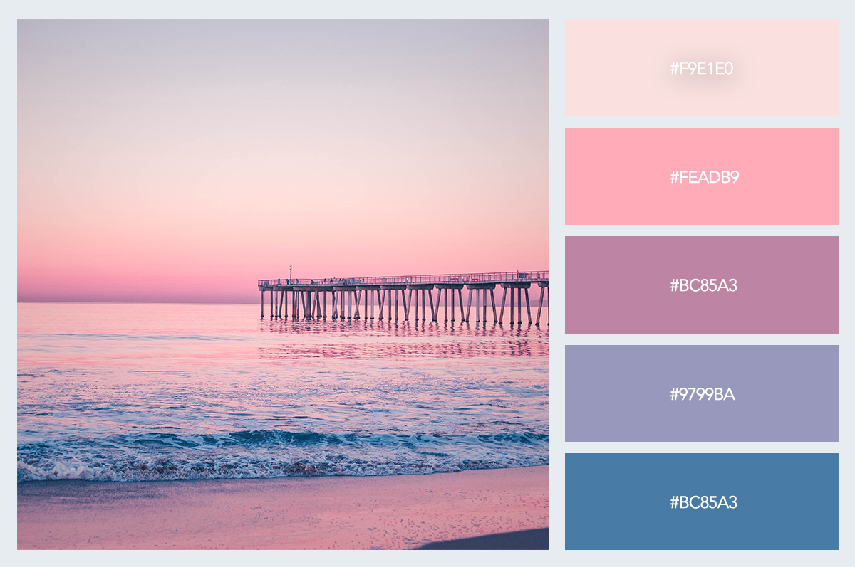 beach sunset color palette hex codes pastel colors visme