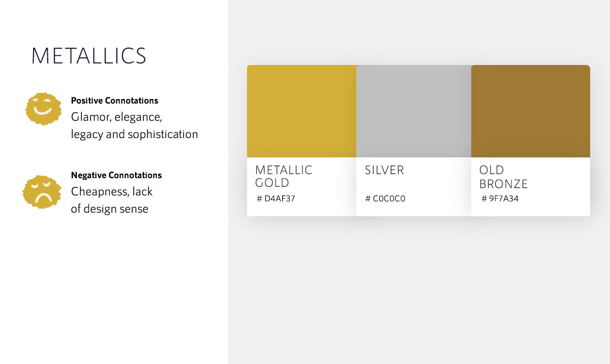 color psychology in marketing - metallic gold silver bronze color meanings hex codes chart