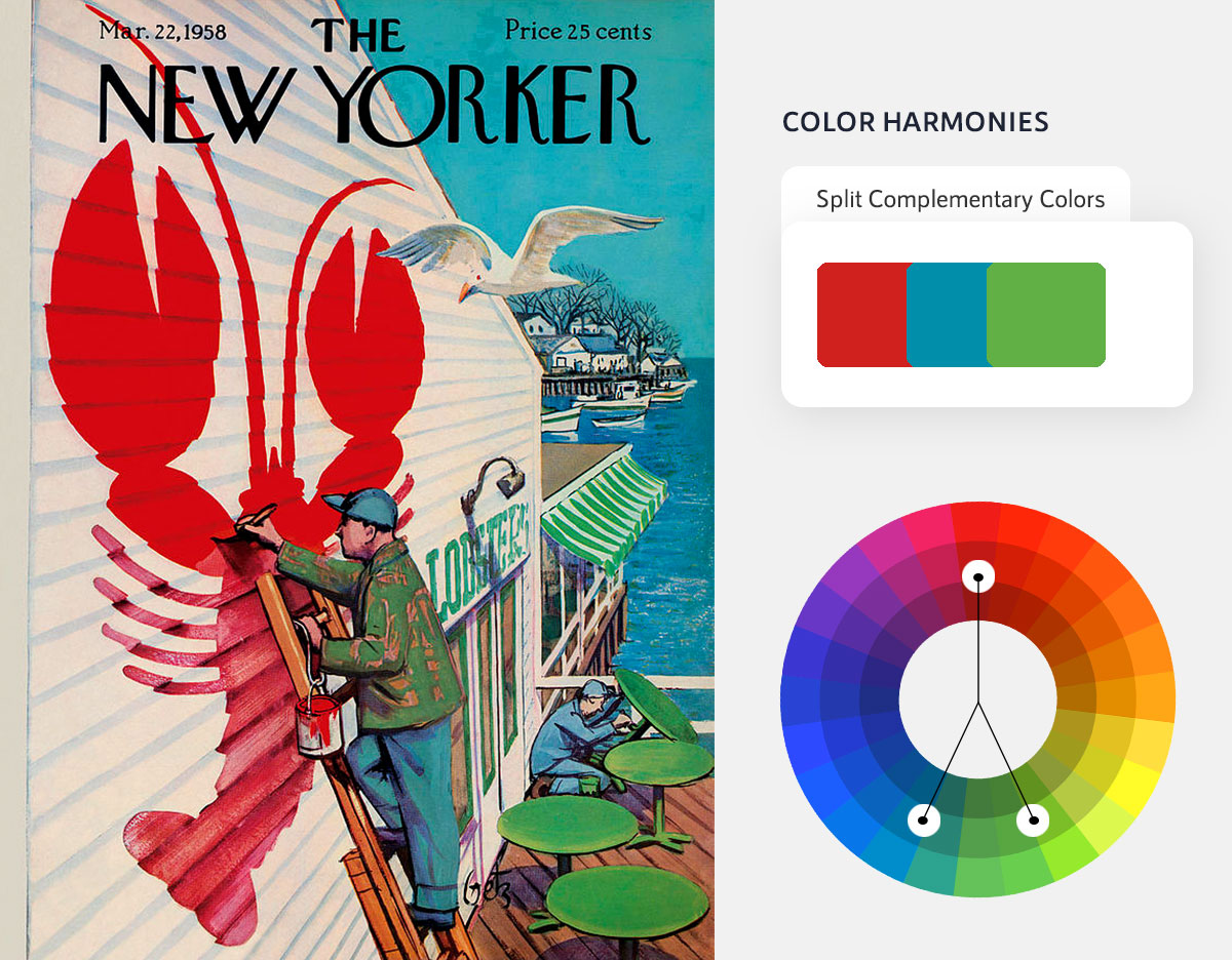 color psychology in marketing - split complementary color scheme