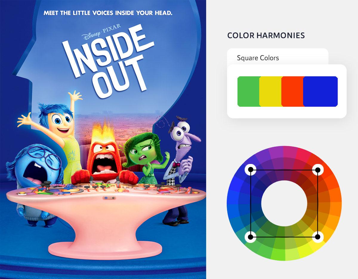color psychology in marketing - square color scheme