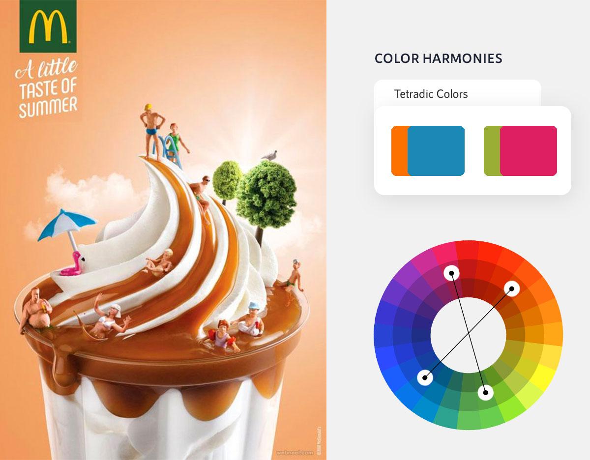 color psychology in marketing - tetradic color scheme