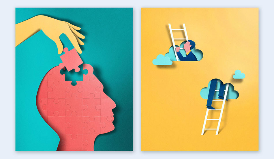 cut-out paper illustrations creative presentation ideas