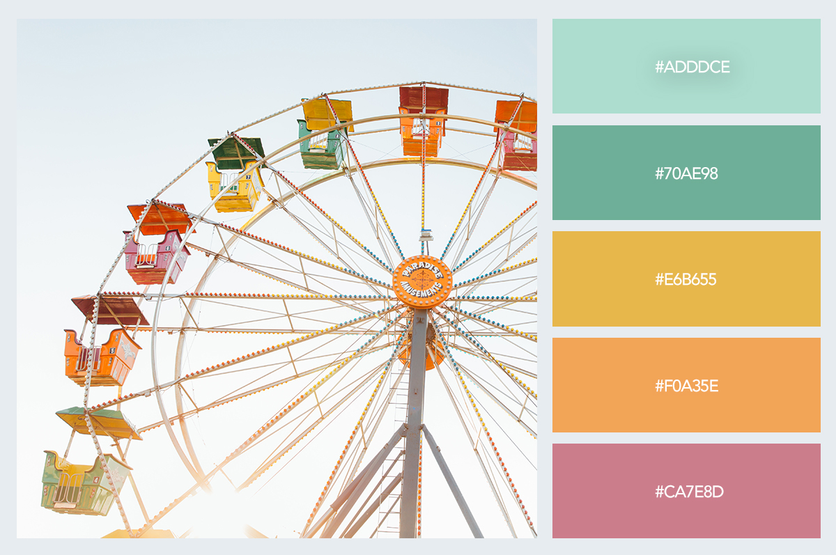 ferris wheel color palette hex codes pastel colors visme