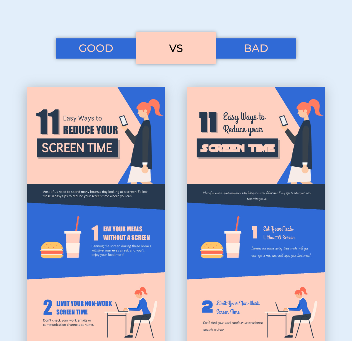 social media infographic - use easy to read fonts good vs bad