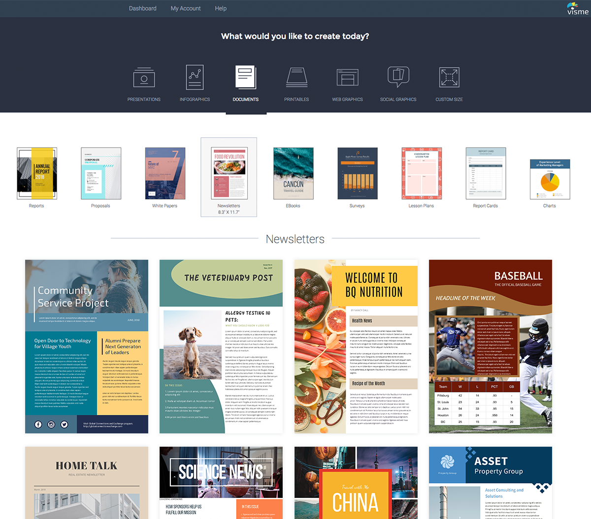 how to create a newsletter in visme
