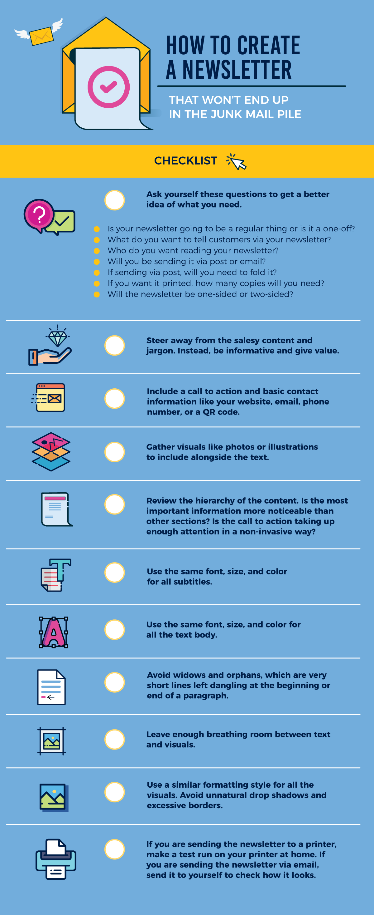 how-to-create-a-newsletter-infographic checklist