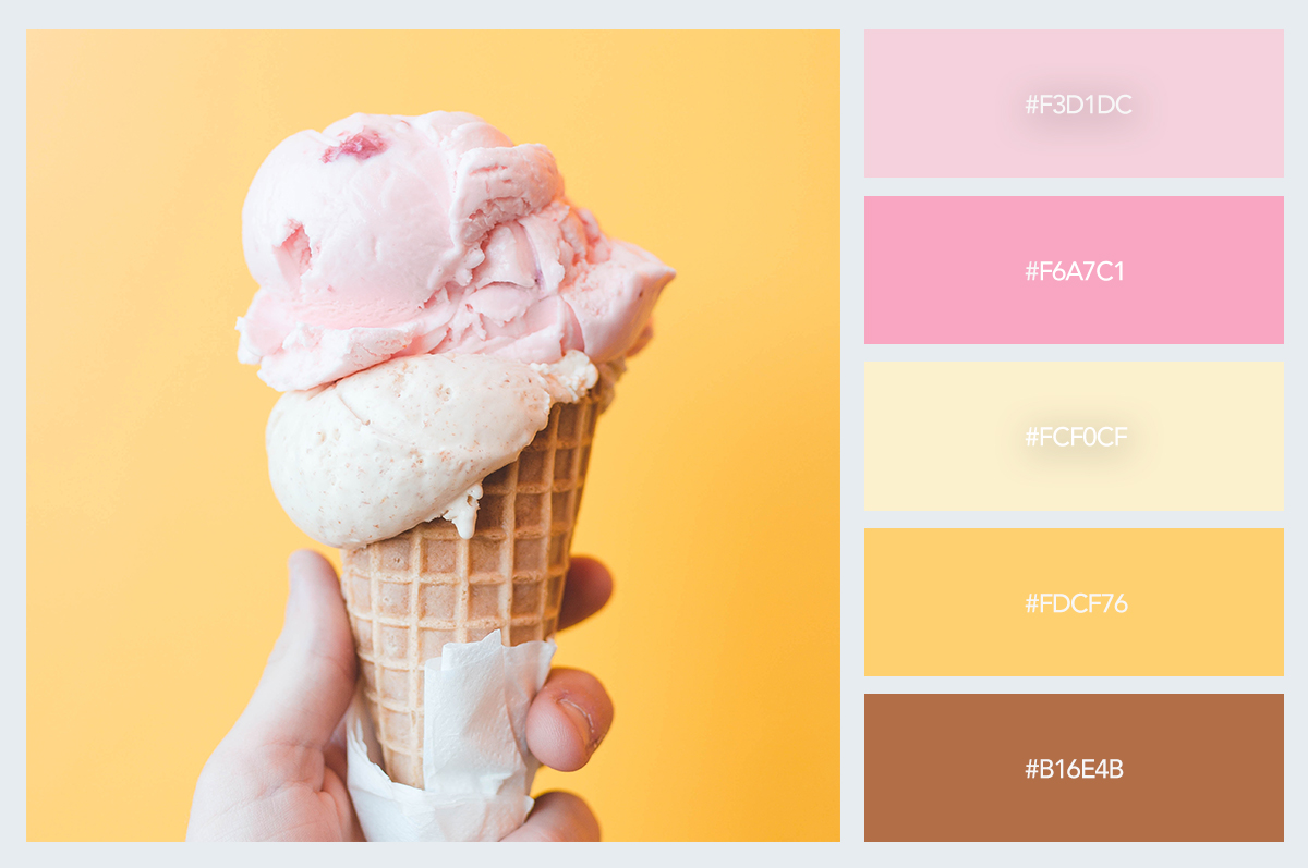 ice cream color palette hex codes pastel colors