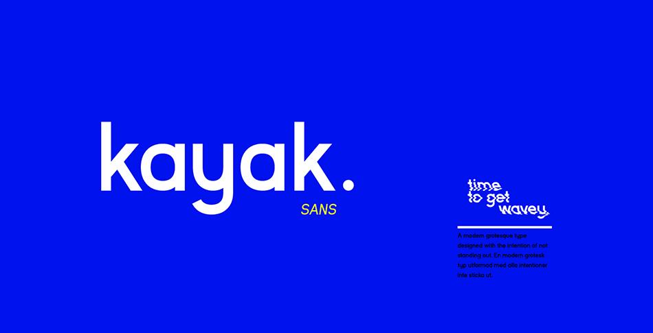 kayak free modern fonts