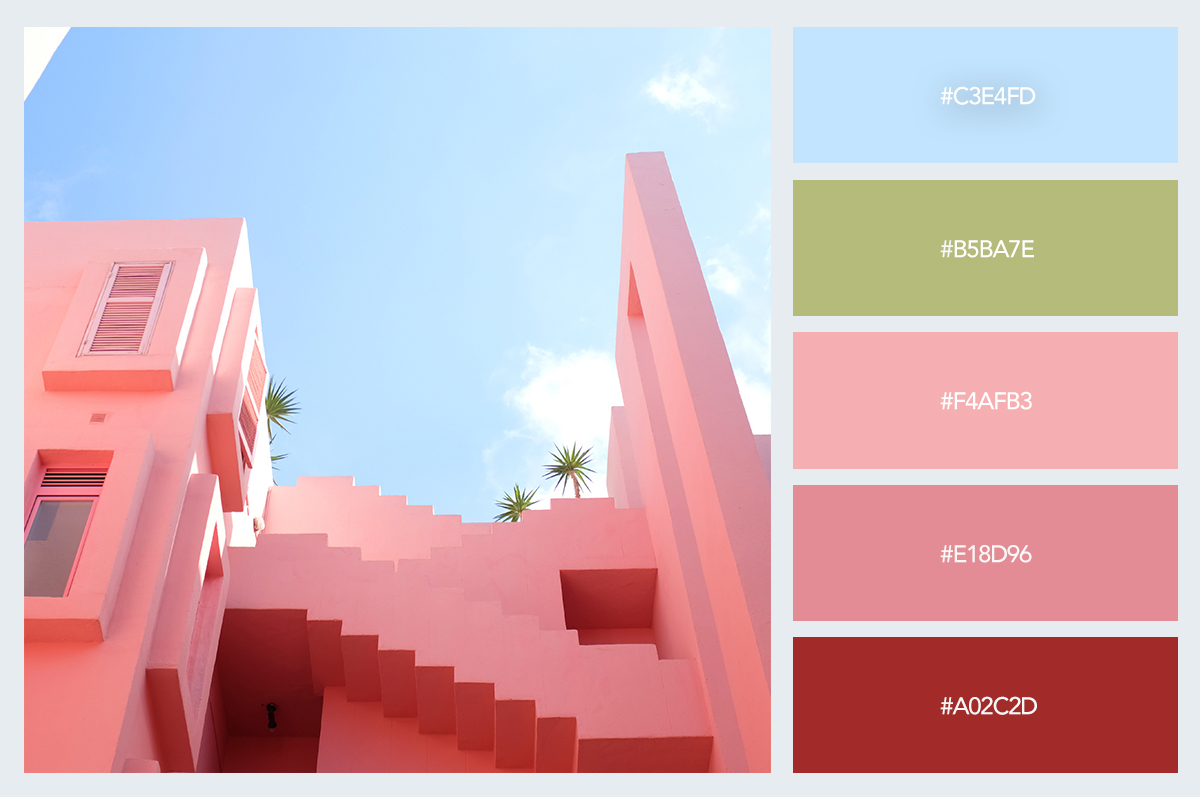 pink house color palette hex codes pastel colors