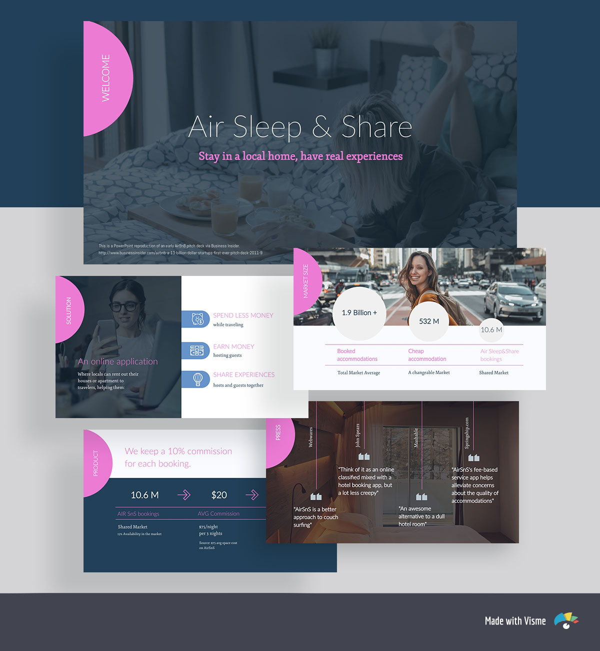 A collage of pink and dark blue pitch deck template slides with images, icons and shapes