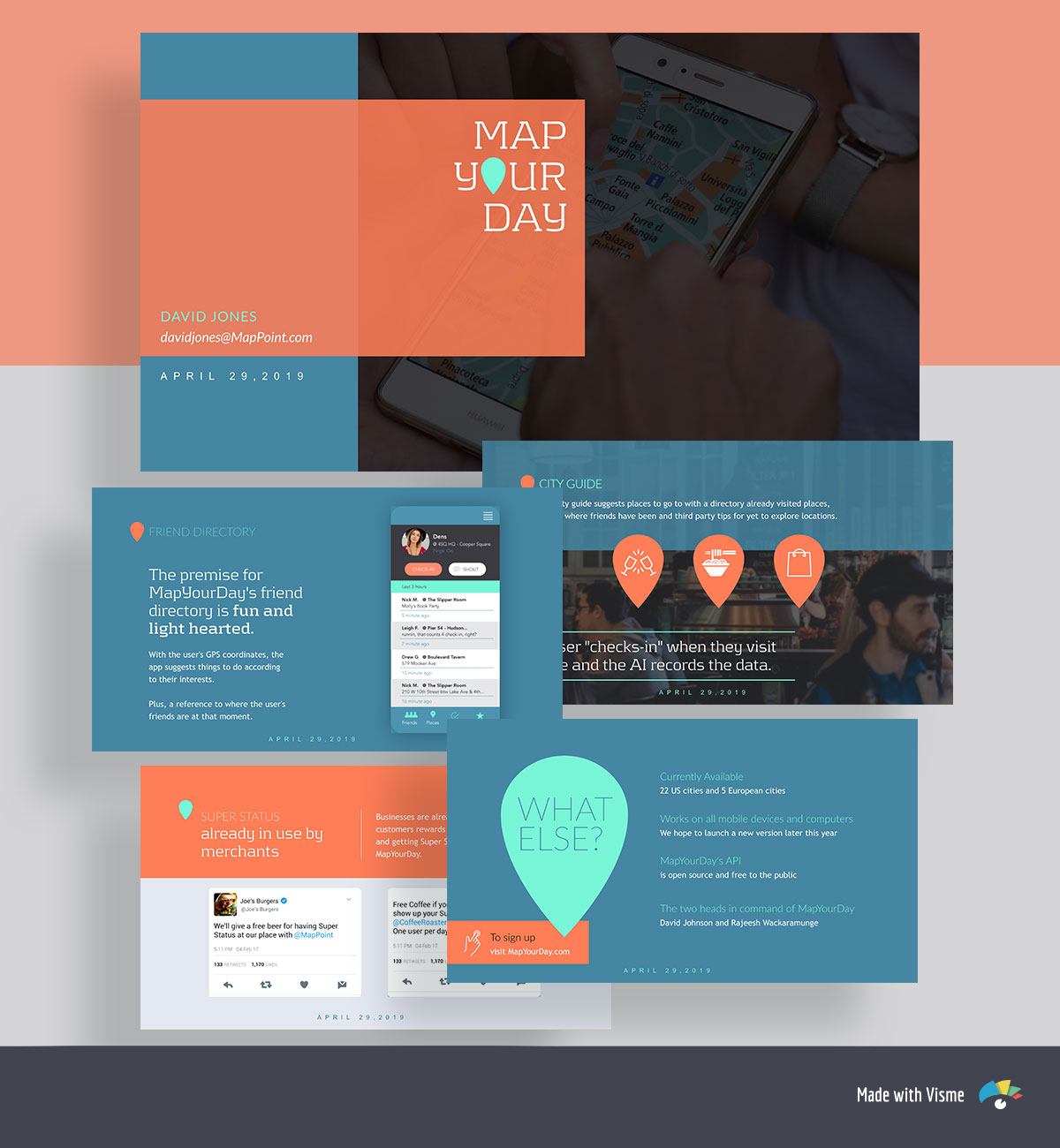 A collage of orange and blue pitch deck template slides with a phone screen mockup, icons and twitter screenshots