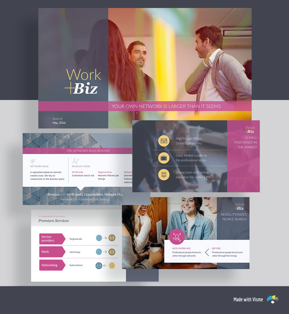 A collage of pink and gray pitch deck template slides with icons, shapes and images of people