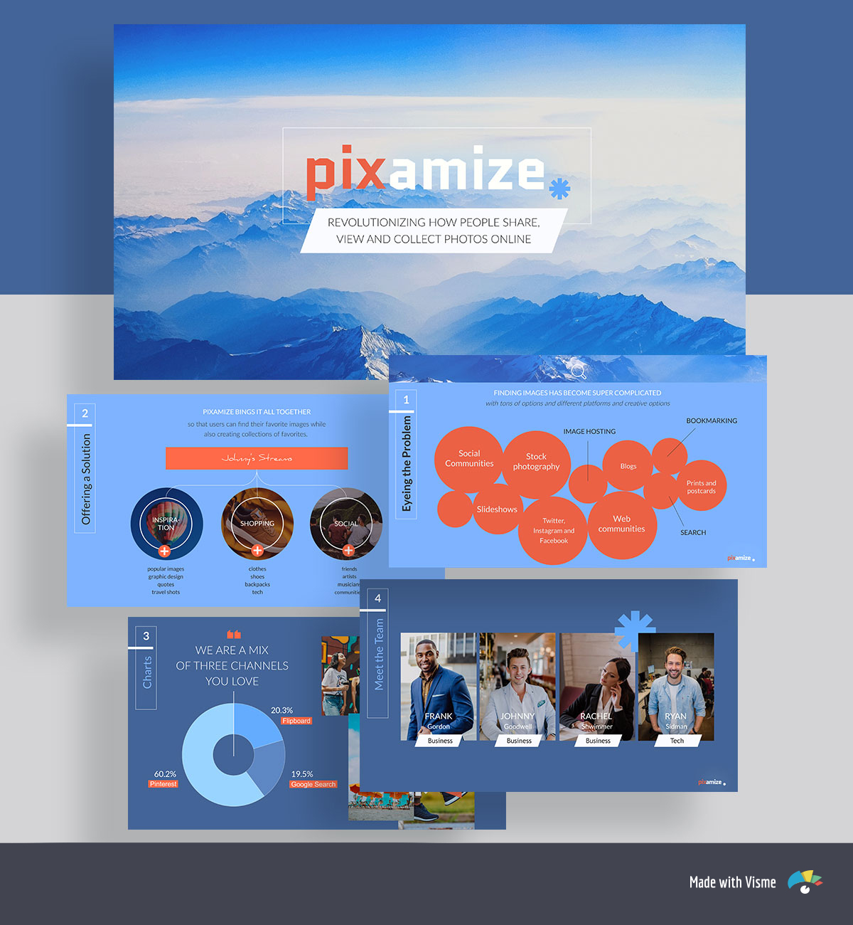 A collage of blue and orange pitch deck template slides with a landscape photo, headshots and a donut chart